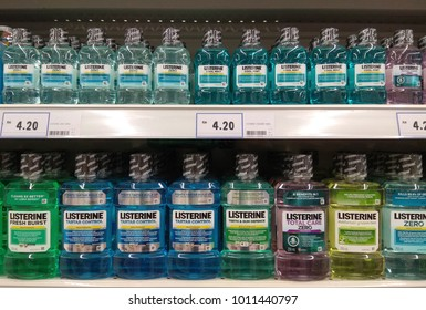 PENANG, MALAYSIA - NOV 16, 2017: Various of Listerine product displayed at supermarket.Listerine is an American brand of antiseptic mouthwash product, founded in 1879 in St.Louis,Missouri.