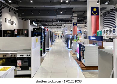 PENANG, MALAYSIA - NOV 16, 2020: Interior of an electrial apppliance store.