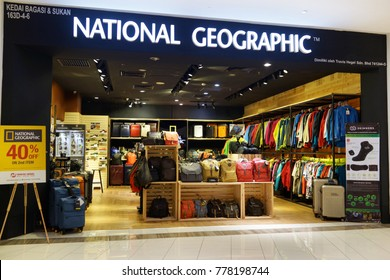 PENANG, MALAYSIA - NOV 24, 2017 : National Geographic store in shopping  mall.