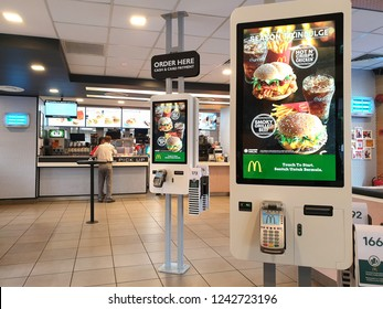 PENANG, MALAYSIA - NOV 27, 2018: Self-ordering Kiosk at McDonalds restaurant. It is the world's largest chain of hamburger fast food restaurants.