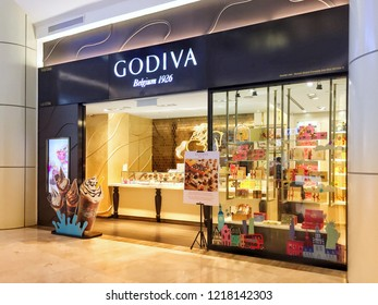 Penang, Malaysia - November 1, 2018 : External facade of a Godiva Chocolatier store at Gurney Paragon