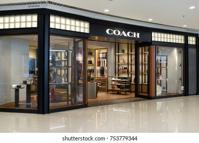 PENANG, MALAYSIA - NOVEMBER 10, 2017: Coach store at Queensbay mall. COACH is an American luxury leather goods company also manufacturing luggage and briefcases.