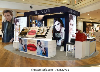 PENANG, MALAYSIA - NOVEMBER 10, 2017: Estee Lauder cosmetic store in shopping mall. The Estee Lauder Companies is an American manufacturer of prestige skincare, makeup, fragrance and haircare product.