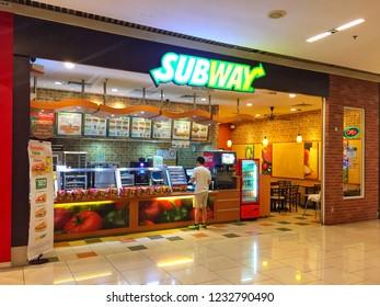 Penang, Malaysia - November 17, 2018 : Exterior view of a Subway food outlet at Queensbay Mall