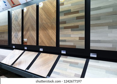 PENANG, MALAYSIA - NOVEMBER 21, 2018 : Modern ceramic tiles display in the HomePro Penang. HomePro is a hypermarket of home electrical product, furniture and building construction in Malaysia.