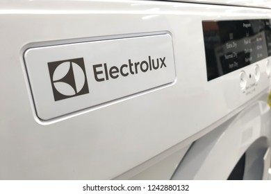 PENANG, MALAYSIA - NOVEMBER 21, 2018 : Close up of Electrolux logo on washing machine in the store. Electrolux is a Swedish multinational home appliance manufacturer, headquartered in Stockholm.