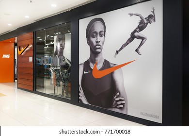 PENANG, MALAYSIA - NOVEMBER 24, 2017 : Nike store front in shopping mall. Nike is an American multinational corporation that design, manufacturing, marketing and sales athletic shoes and apparel.