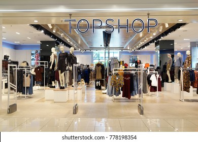 PENANG, MALAYSIA - NOVEMBER 24, 2017 : Topshop fashion store in shopping center. Topshop is a British multinational fashion retailer of clothing, shoes, make-up and accessories.