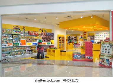 PENANG, MALAYSIA - NOVEMBER 24, 2017 : View of Lego store in shopping mall. Lego is a Danish family-owned company based in Billund, Denmark.