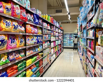 Penang, Malaysia - November 5, 2018 : Assorted laundry detergent for sale in an aisle with shelves inside Jaya supermarket at Gurney Paragon