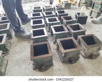 Penang, Malaysia. Oct 09 2019. Cube steel mould for cube test casting.