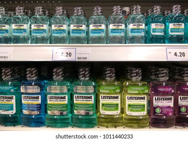 PENANG, MALAYSIA - OCT 16, 2017: Various of Listerine product displayed at supermarket.Listerine is an American brand of antiseptic mouthwash product, founded in 1879 in St.Louis,Missouri.