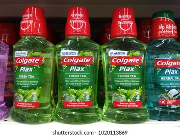 PENANG, MALAYSIA - OCT 16, 2017: Colgate Plax Mouthwash on supermarket shelf. Colgate offering a diverse range of oral hygiene product that sold worldwide