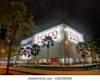 Penang, Malaysia - October 12, 2018 : External signage view of a Tesco and Home Pro hypermarket store in Jelutong, Penang. Tesco hypermarket signboard.