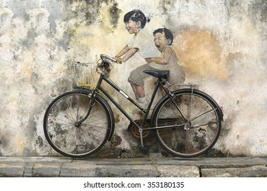 Penang, Malaysia October, 23 2015 3D graffiti bicycle old art painting on the wall in Georgetown Penang, Malaysia