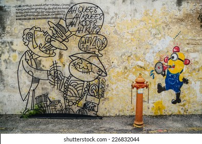 PENANG, MALAYSIA - OCTOBER 23 : Penang wire art and mural at Victoria street on October 23, 2014. The wire frame arts work is around the Georgetown heritage zone in Penang , Malaysia