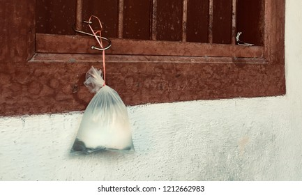 Penang, malaysia - October 25 2018: Plastic garbage, plastic bag uses for sparking water was left on Penang Georgetown city. 