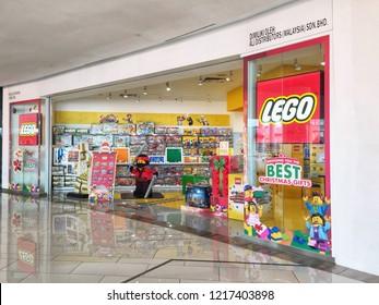 Penang, Malaysia - October 31, 2018 : Exterior facade view of a Lego toy store at Gurney Paragon shopping mall