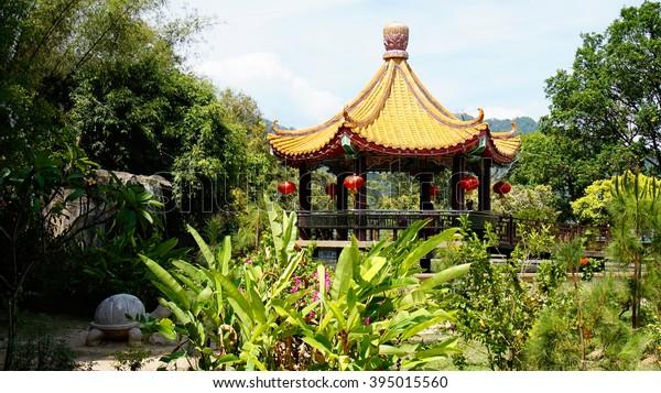 Penang Malaysia Pagoda Roof Design Decorated Buildings Landmarks Stock Image 395015560