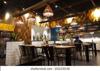 PENANG, MALAYSIA - SEP 23, 2019 : Interior view of Nando's restaurant in shopping mall Penang. Nando's is an international casual dining restaurant chain originating in South Africa.