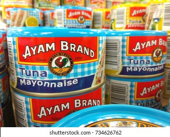 PENANG, MALAYSIA - SEPTEMBER 19, 2017: Tuna fish by Ayam Brand display on store shelf. Ayam Brand founded in Singapore in 1862, today among the popular household brand in Asia.