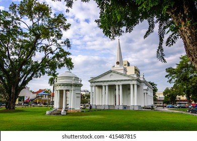 Penang, Malaysia - September 4, 2013: St George's Church, built in 19th-century & oldest purpose built Anglican church in South East Asia, in historic George Town, Penang.