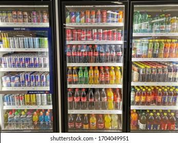 PENANG, MALAYSIA-APRIL 20th 2019: drink and beverages inside a petrol station at Penang, Malaysia. Convenience shop.