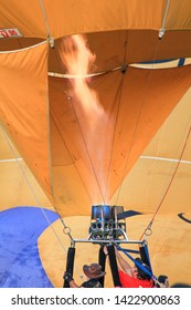 Penang Polo ground, Malaysia, February 10th, 2019. The crew is setting up the Hot air balloon by inflating the inner envelope.