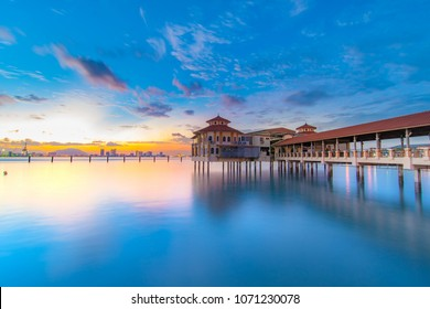 Penang travel morning view at QE2 river side sunrise scenery, Malaysia Travel