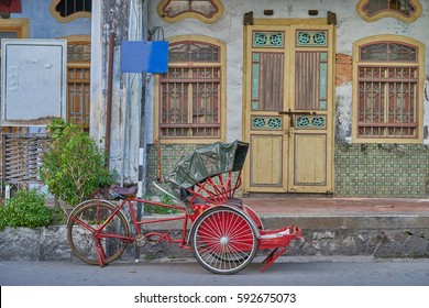 """""""Penang Trishaw"""" is vehicle for transport in Penang, Malaysia."""