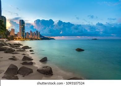 Penang Twilight cloudy landscape beach side with the building