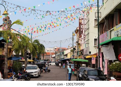 Penang/Malaysia - 26 Jan 2019: Little India area in Georgetown, Penang, Malaysia.  Georgetown is a world cultural heritage site.