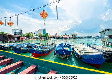 Penang,Malaysia - July 17,2015 : Boats at the Chew Jetty which is one of the UNESCO World Heritage Site in Penang.