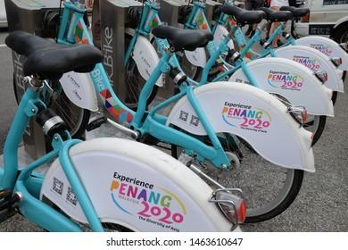 PENANG,MALAYSIA - JULY 22 2019 | City bikes on Broadway prepared to rent.