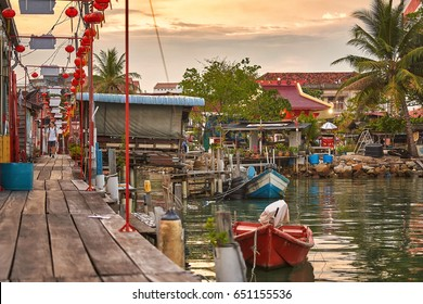 PENANG/MALAYSIA - MARCH 5, 2017: Clan Jetties Floating Village in George Town, Penang, Malaysia