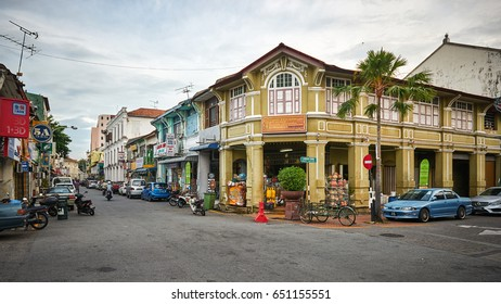 PENANG/MALAYSIA - MARCH 5, 2017: Historical center of George Town on Penang island, Malaysia