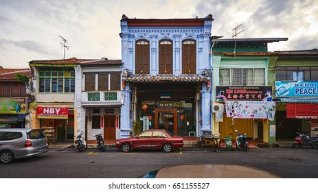 PENANG/MALAYSIA - MARCH 5, 2017: Old colonial houses in George Town on Penang island, Malaysia