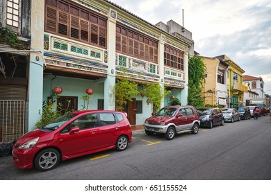 PENANG/MALAYSIA - MARCH 5, 2017: The street in the historical center of George Town on Penang island, Malaysia