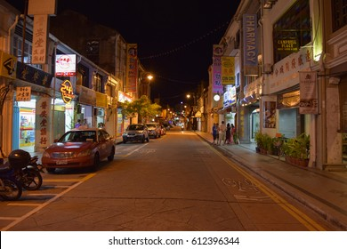 PENANG/MALAYSIA - SEPTEMBER 2 2016: Streets and buildings of George Town at night. Penang island. Malaysia