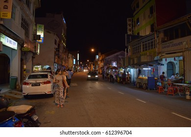 PENANG/MALAYSIA - SEPTEMBER 2 2016: Streets and buildings of George Town at night. Penang island. Malaysia