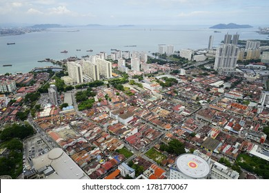 Penang,Malaysia-July 11th,2020:Aeriel shot of Penang Island with the from the TOP, Komtar.Penang is one of the crowded city in Malaysia.