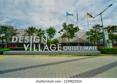 Penang,Malaysia-November 22nd,2018:Wide angle shot of the enterance of Design Village outlet mall in Batu Kawan, Penang.This is the first outlet mall opens in Penang in November 2016.