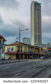 Penang,Malaysia-November 3rd,2018:Great architectural deisgn buildings along Penang Road in Georgetown.Penang is a place where heritage buildings and modern structure blend in together.