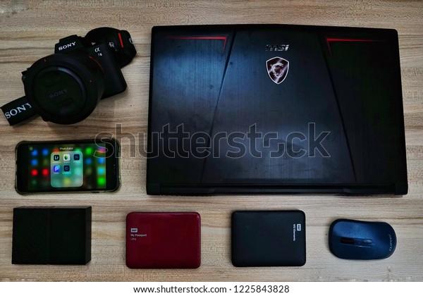 Penangmalaysianovember 7th2018flat Lay Shot Msi Laptop Stock