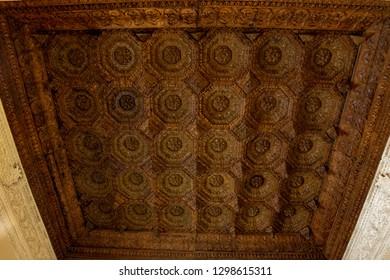 Penaranda de Duero, Burgos, Spain April 2015: view of the Coffered ceiling mudejar, Avellaneda Palace in Peñaranda de Duero