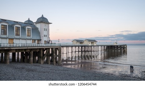 Penarth Pier during sunset by the coasts of Wales.
