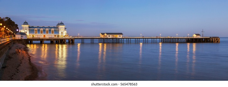 Penarth Pier, Night, near Cardiff, Vale of Glamorgan, Wales, UK