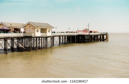 Penarth, United Kingdom -  July 20, 2018: Film crew filming a movie on Penarth Pier in summer 2018.