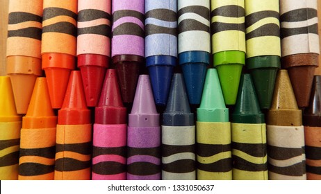 Penarth, Vale of Glamorgan, United Kingdom, 05/03/2018, Crayola crayons in different colours