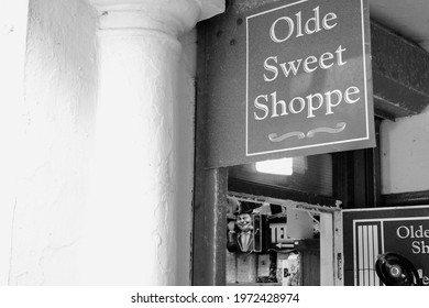 Penarth, Vale of Glamorgan, Wales. 01 March 2021 Old fashioned sweet shop at the entrance of the pavilion on Penarth Pier still closed along with other non essential shops in Wales